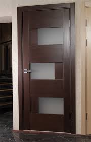appealing dominika contemporary interior wood doors with stainless steel door handle featuring 3 paneling frosted glass material and wooden frame door