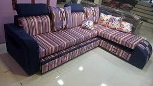 red teak wood modern l shape sofa bed