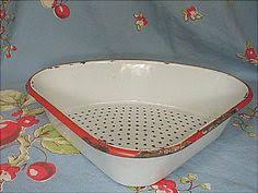 vintage white and red enamelware tall colander strainer