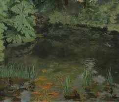 winston churchill the goldfish pool at chartwell 1932