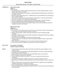 Artist Manager Resume Job Description Brand Manager Resume Samples Velvet Jobs