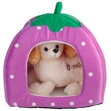 Soft Strawberry <b>Pet Dog</b> Cat Bed House Kennel Doggy <b>Warm</b> ...
