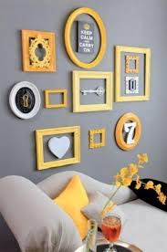 gray and yellow furniture. A Grey Gallery Wall Bold Yellow Frames Gray And Furniture