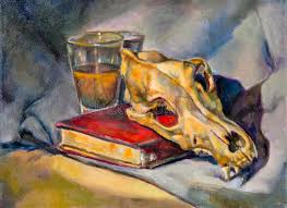 composition of a book a glass and a skeleton