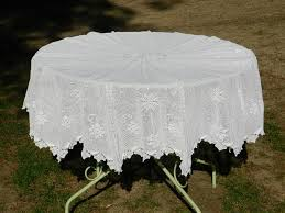 round totally handmade crochet large white cotton tablecloth 175 cm in diameter