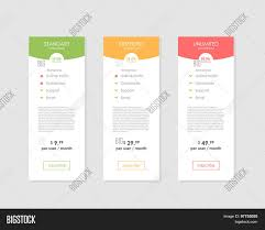 Web Banner Design Price Pricing Table Vector Photo Free Trial Bigstock
