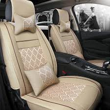 2018 new leather ice silk car seat cover universal for honda all models crv xrv odyssey jazz fit accord civic car styling waterproof car seat covers