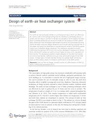 Research Paper On Heat Exchanger Design Design Of Earth Air Heat Exchanger System Topic Of