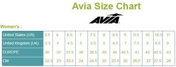 Avia Womens Size Chart 2019