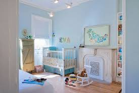 ... Soothing nursery in light blue with custom wall art [Design: Jen Talbot  Design]