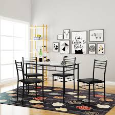 Amazon.com - VECELO Dining Table with 4 Chairs Black - Table ...