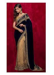 Latest Velvet Saree Designs Invigorating Dark Blue Velvet Net Fabric Designer Saree