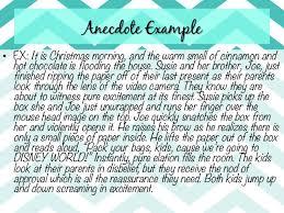 essay hooks 6 anecdote example•
