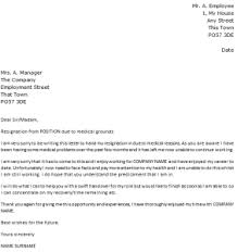 Resignation Template Uk Letter Of Resignation Due To Medical Reasons Cover Letter