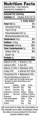 silk light original soymilk nutrition label