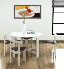 space saver dining set round white wooden space saving dining table with four unique chair set