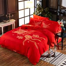 luxury duvet cover set dragon and phoenix chinese red wedding gift bedding set print modern bed sheet pillowcase bedclothes blue and gray bedding grey and