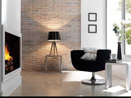 the brick condo furniture. Interior. White Brick Wall Theme And Black Table Lamp On Small Added By The Condo Furniture