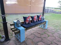 Cinder Block Stairs Diy Patio Bench Using Concrete Cinder Blocks 4x4 Wood And Cushions
