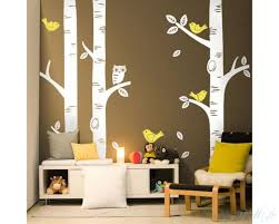3 birch trees with birds and owl 3 birch tree wall decals  on silver birch wall art stickers with 3 birch trees wall decals with birds and owl tree decal