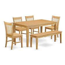 table 4 chairs and bench. amazon.com: east west furniture cano6-oak-w 6-piece dining table set: kitchen \u0026 4 chairs and bench b