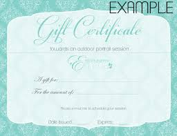gift certificate photography by emma gift certificate