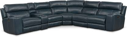 living room furniture newport 6 piece power reclining sectional with 2 reclining seats