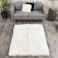 large ivory white sheepskin area rug 4x6 ft