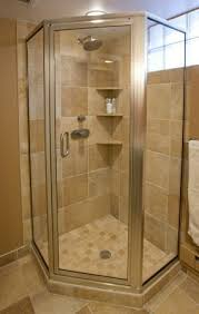 Simple Corner Shower Stalls With Glass Tile Privacy Window For Modern Ideas
