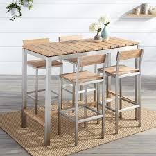 Outdoor Bar Macon 5 Piece Rectangular Teak Outdoor Bar Table Set Whitewash