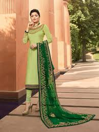 Light Green Combination Light Green In Combination Traditional Embroidered Churidar Suit