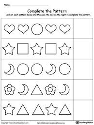 Pattern Activities For Preschoolers Beauteous Complete The Pattern Patterns Worksheets Pinterest Printable