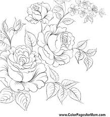 Black and white pattern for coloring book for adults with adorable unicorn and roses background. Flower Rose Flower Coloring Pages For Adults
