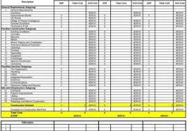 Sample Construction Estimate Spreadsheet And House Construction Cost