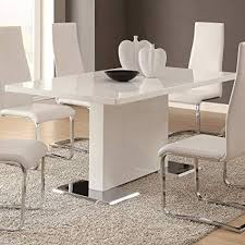 Amazon Glossy White Contemporary Dining Table Tables Simple Designer Dining Room Sets