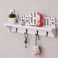 Coat Key Rack Classy DIY Wooden Letters Hollow Storage Rack Decorative Wall Shelf For