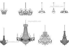 chandeliers free dwg model