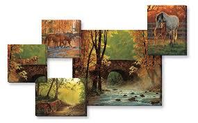 autumn bridge scenery wall collage canvas giclee art print set of 5