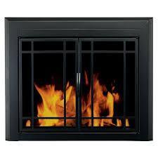 pleasant hearth easton black small cabinet style fireplace doors with smoke tempered glass