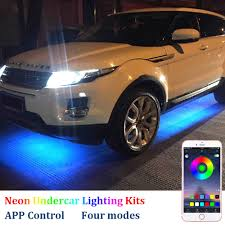 Under Car Light Kit 4pcs Car Undercar Glow Led Light Underglow Atmosphere Bar Lights Kit Strip Waterproof 7 Color With Sound Active App Controller