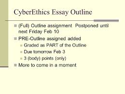 cyberethics essay outline ppt video online  cyberethics essay outline