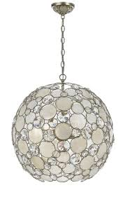 capiz shell lighting fixtures. 6 Light Antique Silver Coastal Chandelier Draped In Natural White Capiz Shell + Hand Cut Crystal 529-SA | Elite Fixtures Lighting H