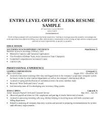 Sample Resume Office Clerk Entry Level Office Clerk Resume Sample ...
