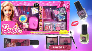 barbie makeup cosmetic set glitter lip gloss and nail polishes kid make up set