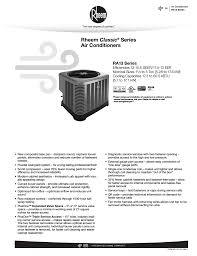 Rheem Ra13 Specification Sheet Manualzz Com