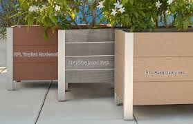 DeepStream Designs wood planters compare natural wood to recycled plastic  lumber colors: click for more