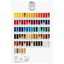Atelier Acrylic Colour Chart Winsor Newton Hand Painted Professional Acrylic Colour Chart