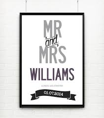 personalised mr & mrs wedding design with name and date poster Wedding Date On Canvas personalised \