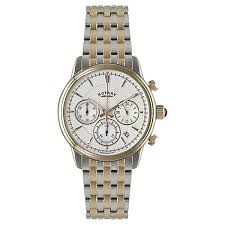 rotary men s watches john lewis buy rotary gb02877 06 men s chronograph two tone bracelet strap watch silver