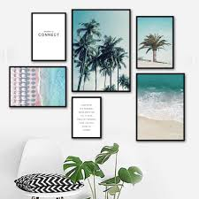 Beach Tropical Coconut Tree Sea Quotes Nordic Posters And Prints Wall Art Canvas Painting Wall Pictures For Living Room Decor